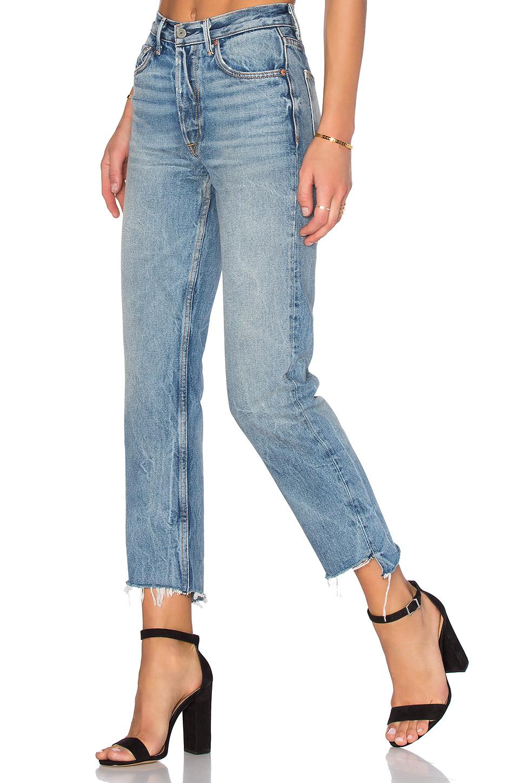 grlfrnd x revolve helena highrise straight jean in blue