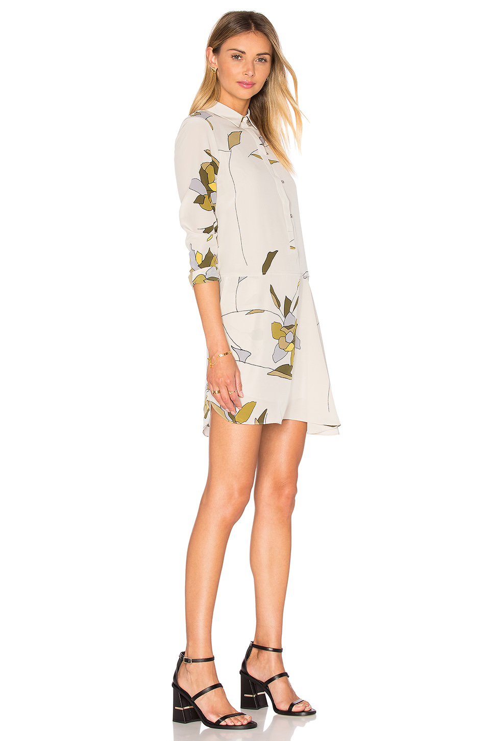 Halston Long Sleeved Silk Shirt Dress In Multicolor Lyst