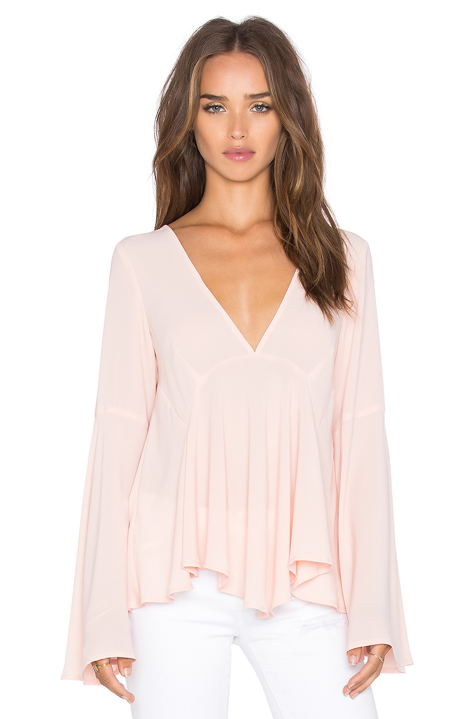 Lucy Paris Bell Sleeve Top In Pink Lyst