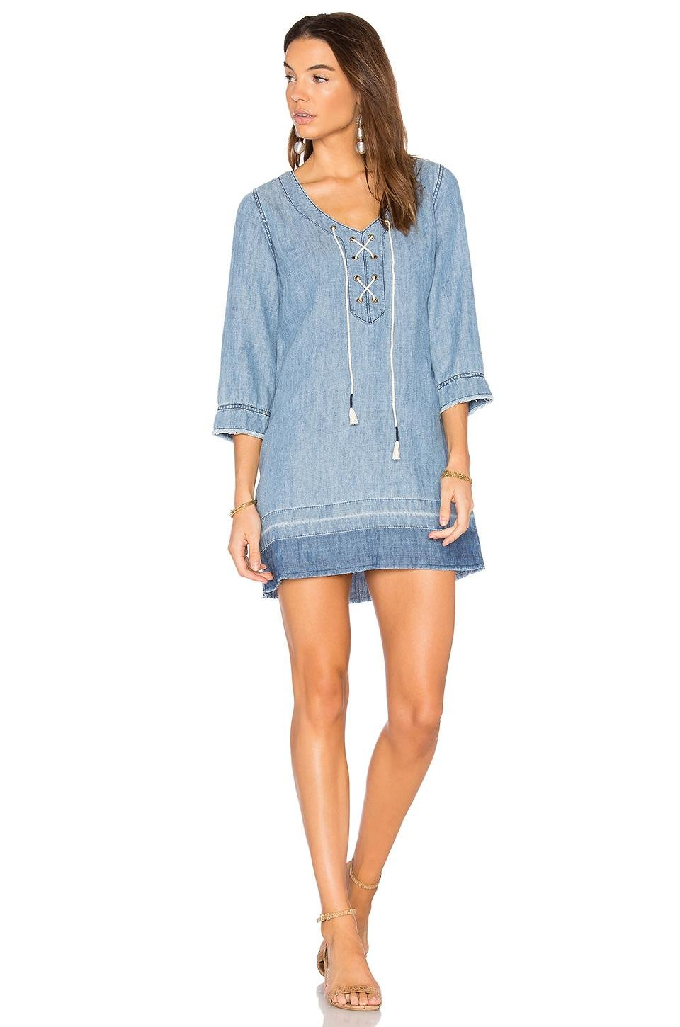 Michael stars denim lace up dress in blue lyst for Michael stars t shirts on sale