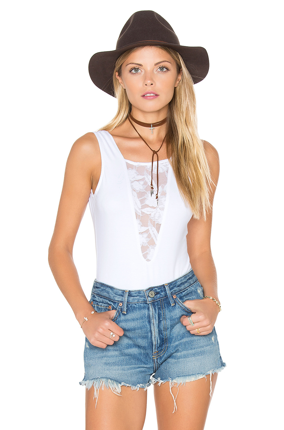 44a450d97f Lyst - Nightcap Sleeveless Lace Inset Bodysuit in White