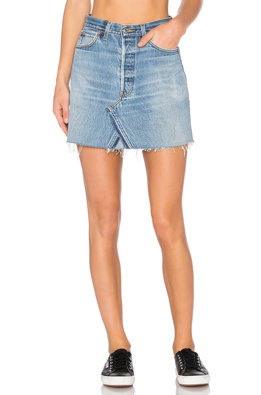 re done levis high waist mini skirt in blue lyst. Black Bedroom Furniture Sets. Home Design Ideas