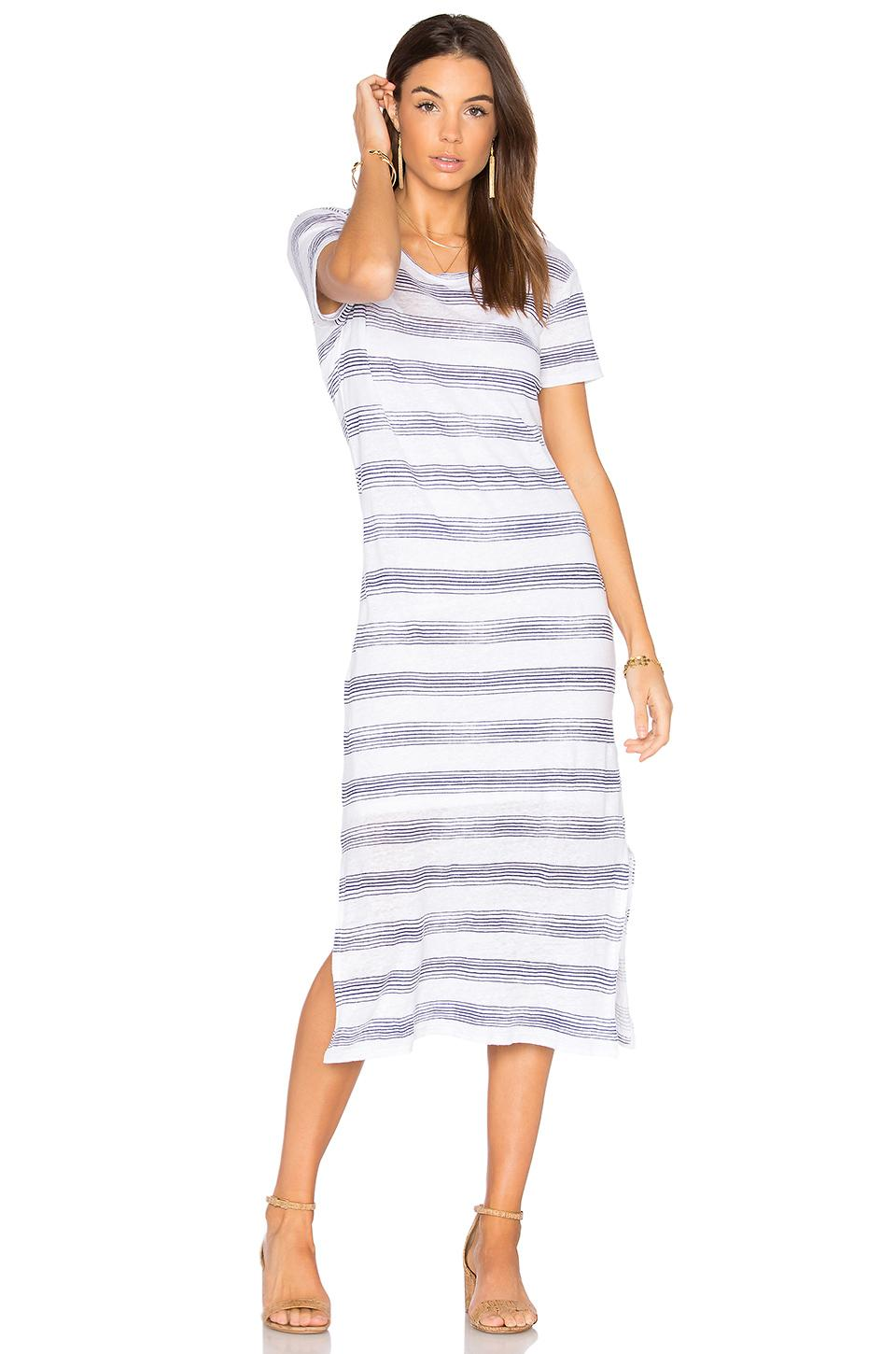 Stateside Linen Jersey T Shirt Midi Dress In White Lyst