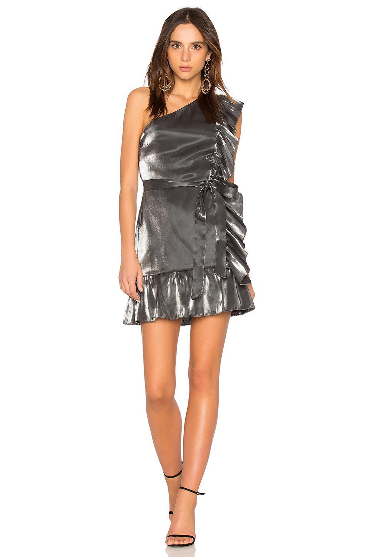 efd6139d65d Karina Grimaldi Fernanda Mini Dress In Metallic Silver - Lyst