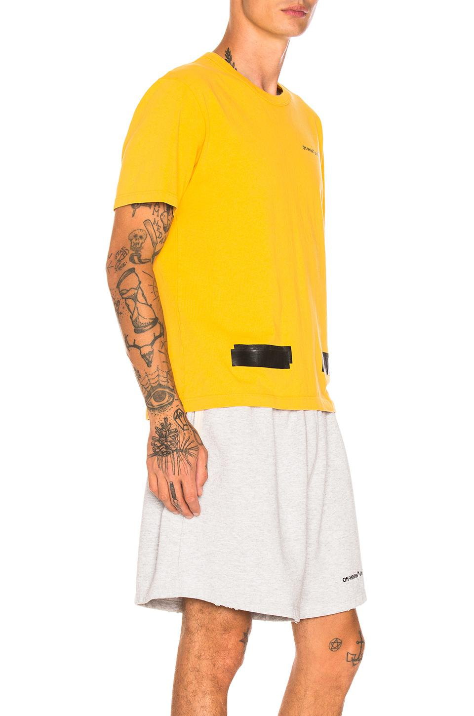 46361776 Off-White c/o Virgil Abloh Champion Tee in Yellow for Men - Lyst