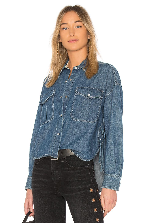 Lyst rag bone cropped mason shirt in blue save 16 for Rag bone shirt