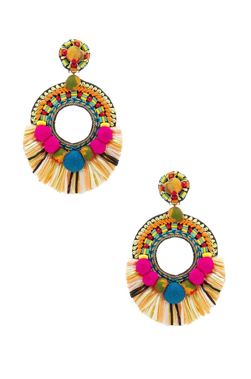 Ranjana Khan Beaded Raffia Statement Clip-On Earrings UuVscKL