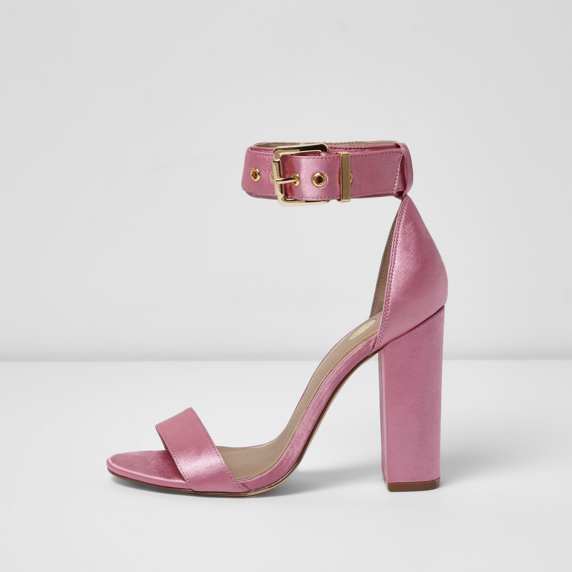 33df152e09b Lyst - River Island Pink Satin Two Part Block Heel Sandals in Pink