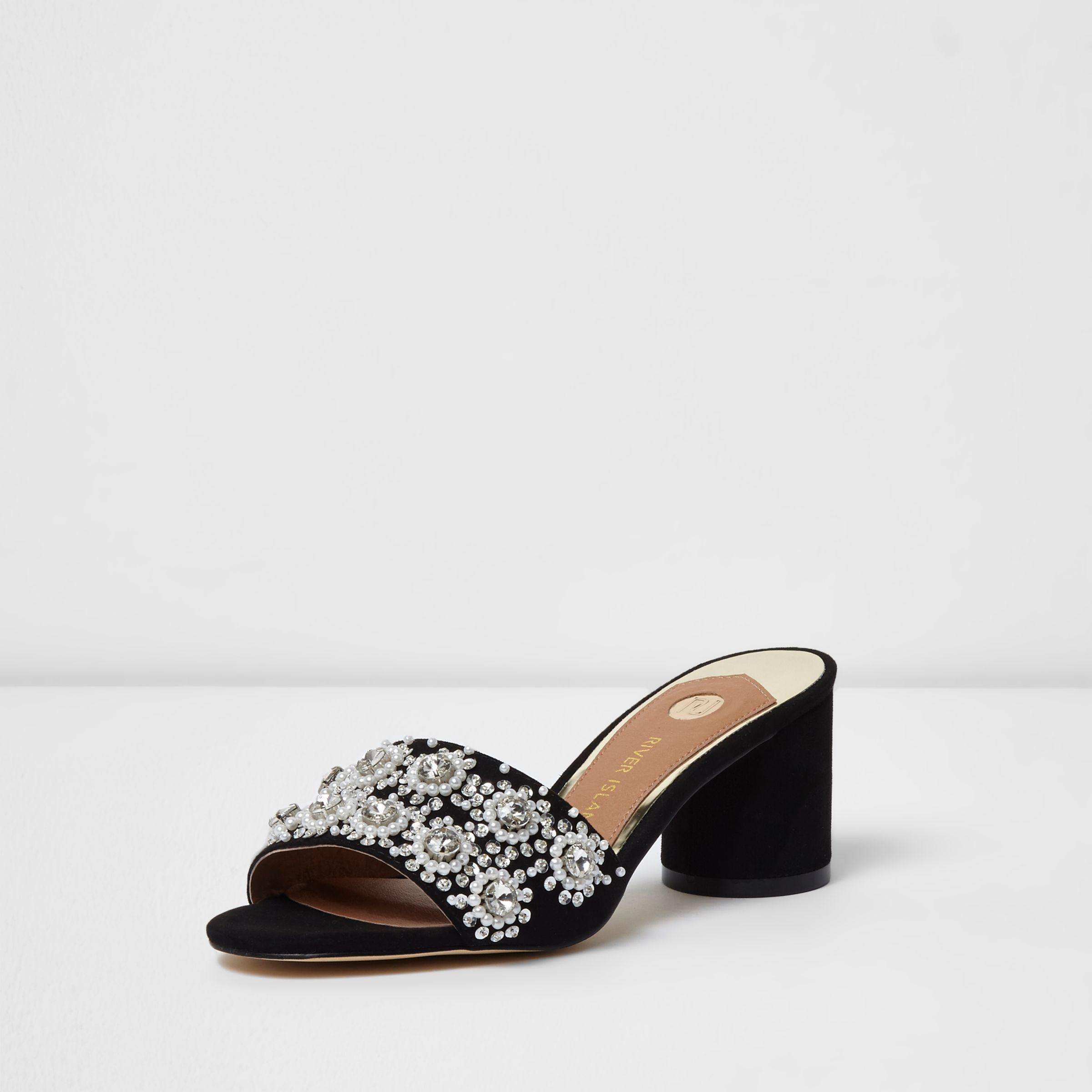 8df759d3b40 River Island Black Diamante Embellished Block Heel Mules in Black - Lyst