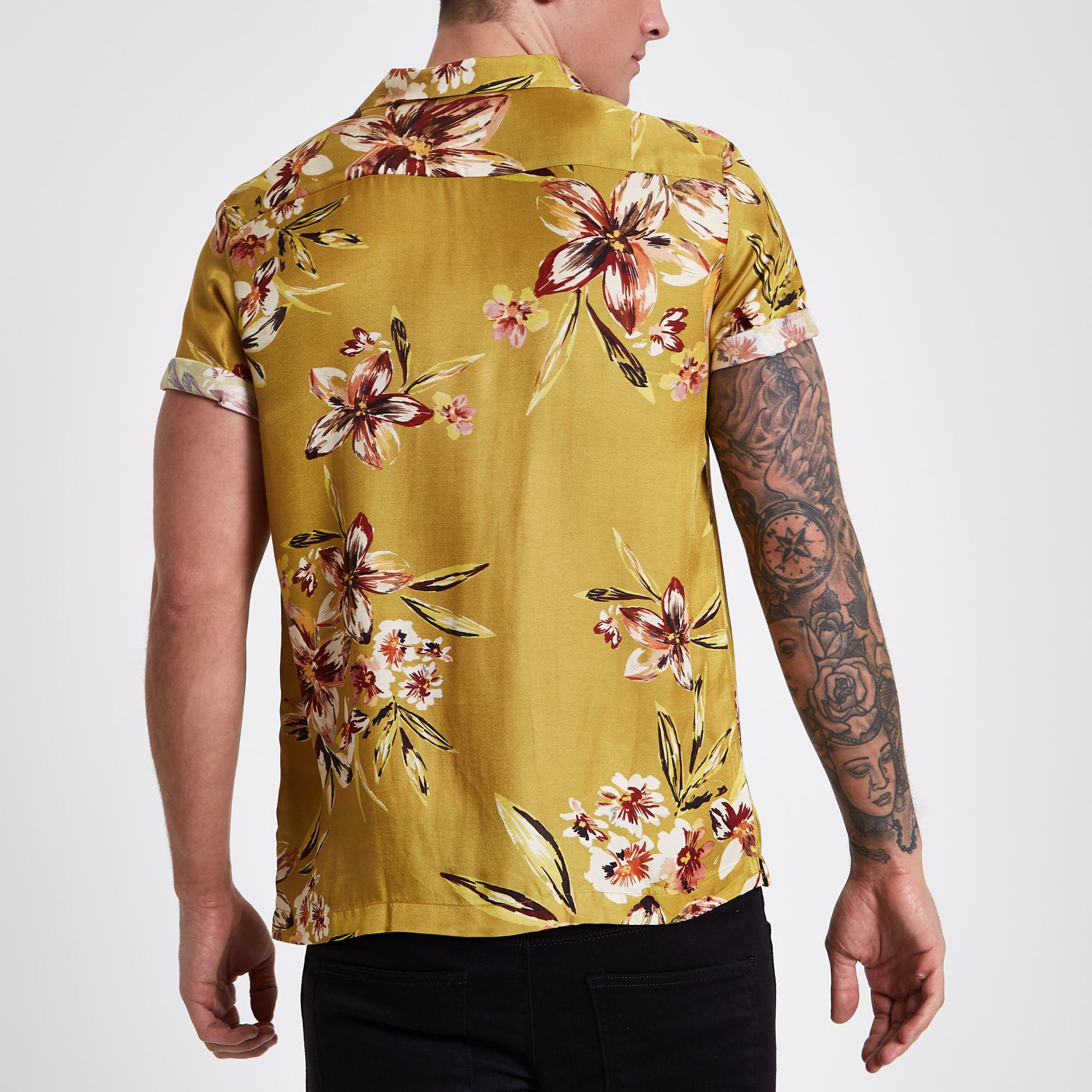 911742415fb17 River Island Mustard Floral Short Sleeve Shirt in Yellow for Men - Lyst