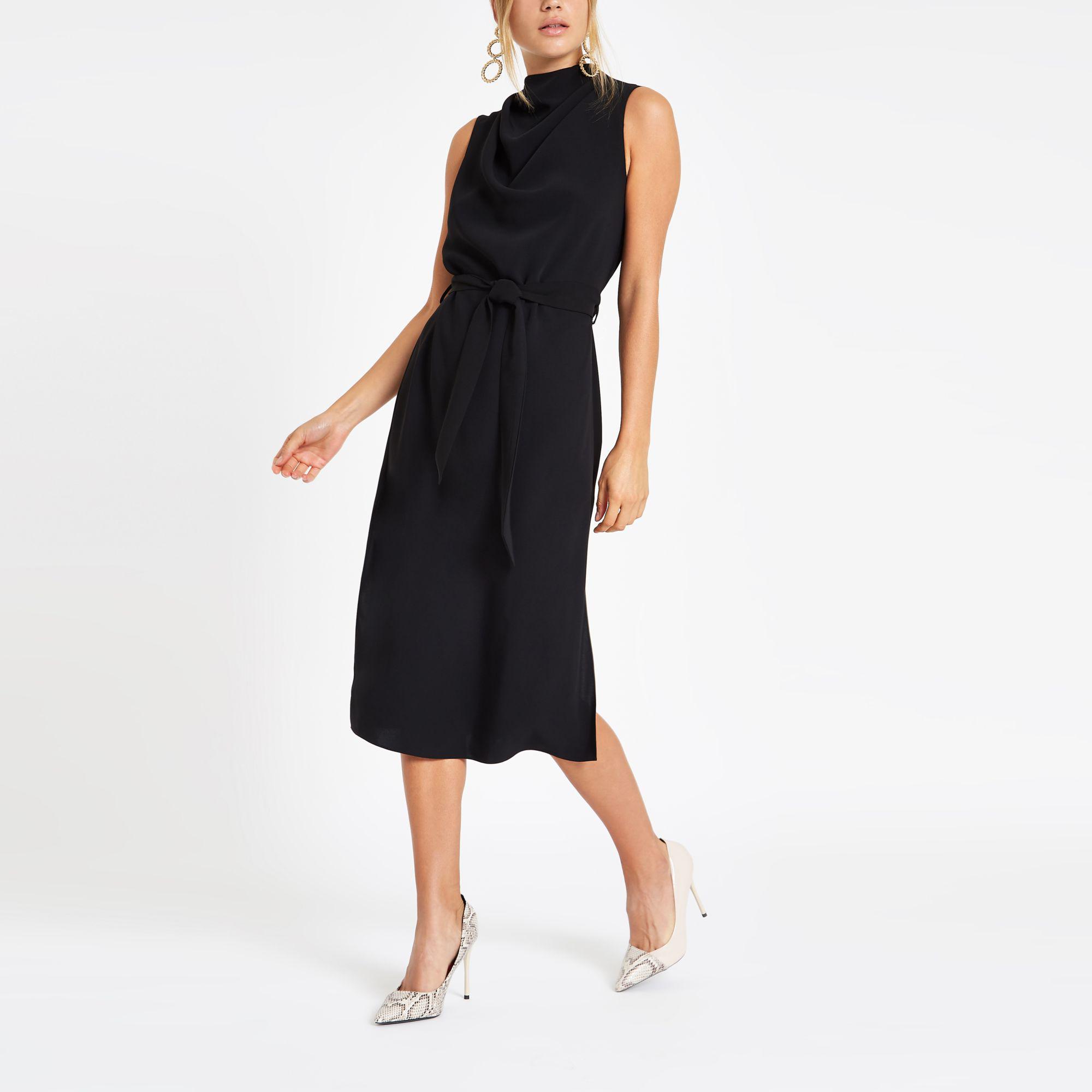 7ccb0c1801ab River Island Black High Neck Sleeveless Wrap Midi Dress in Black - Lyst