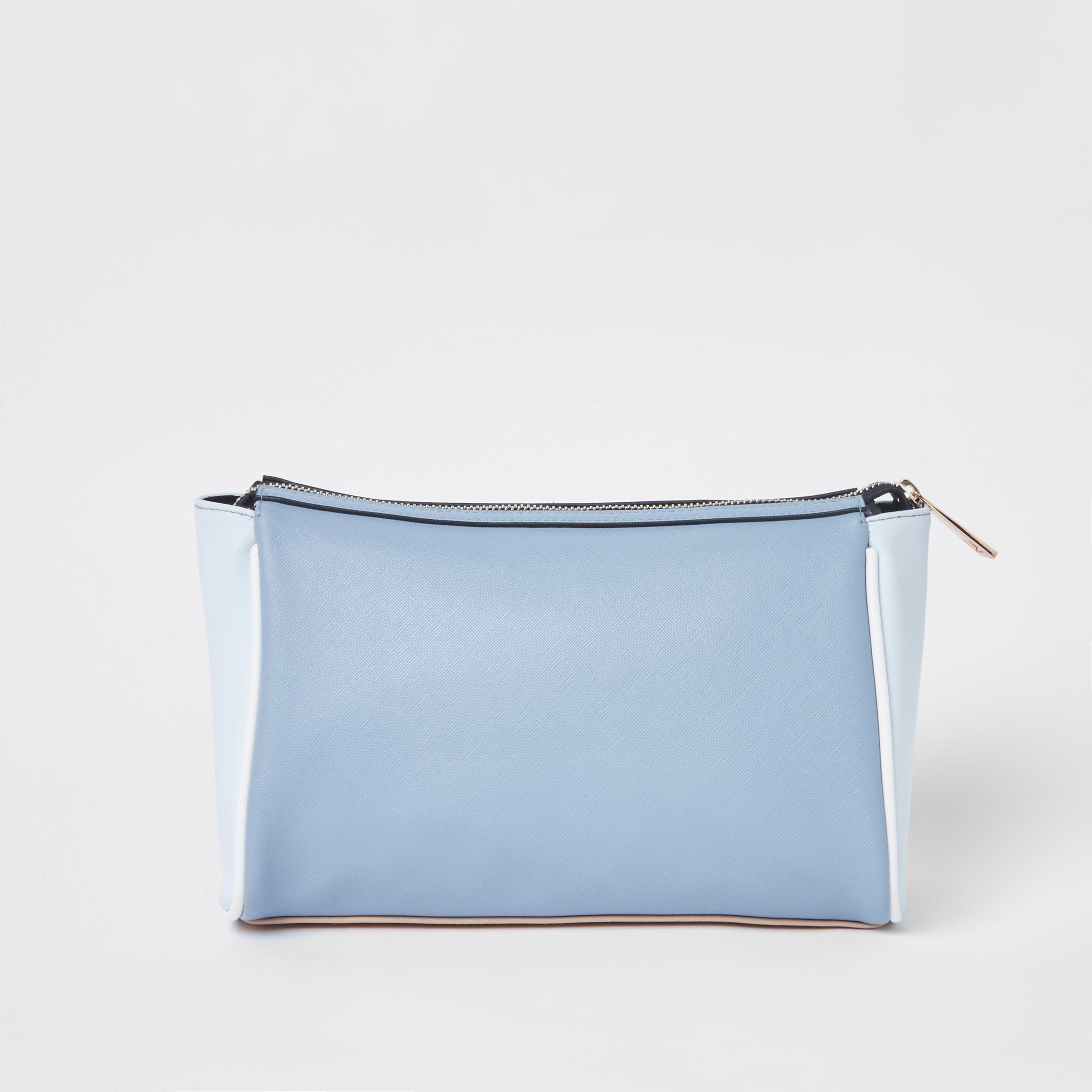 Womens Blue cutabout panel zip top make-up bag River Island Particular Cheap Sale Sale YYOsCJsPh