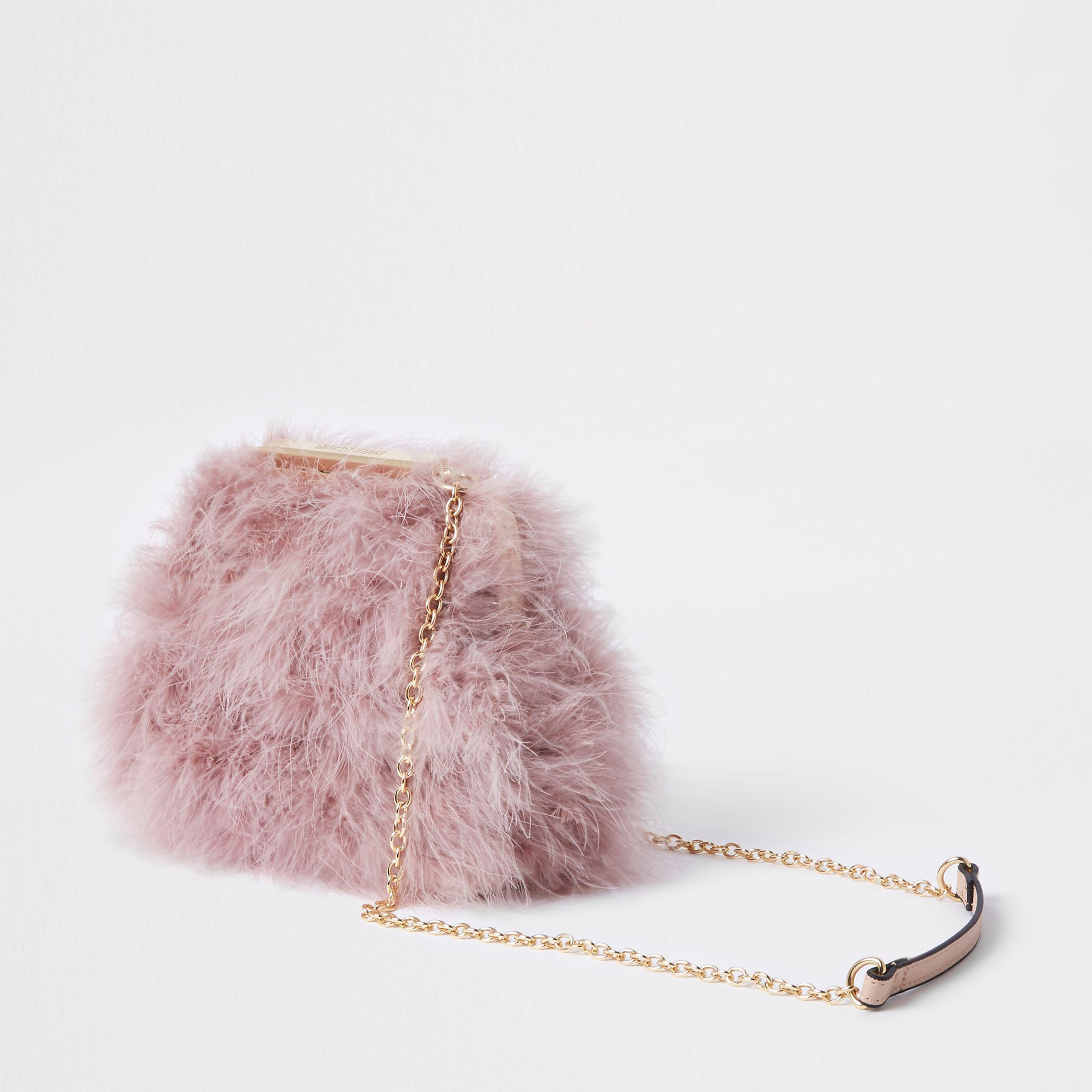 River Island Pink Feather Clutch Chain Bag in Pink - Lyst 53c25364f608e