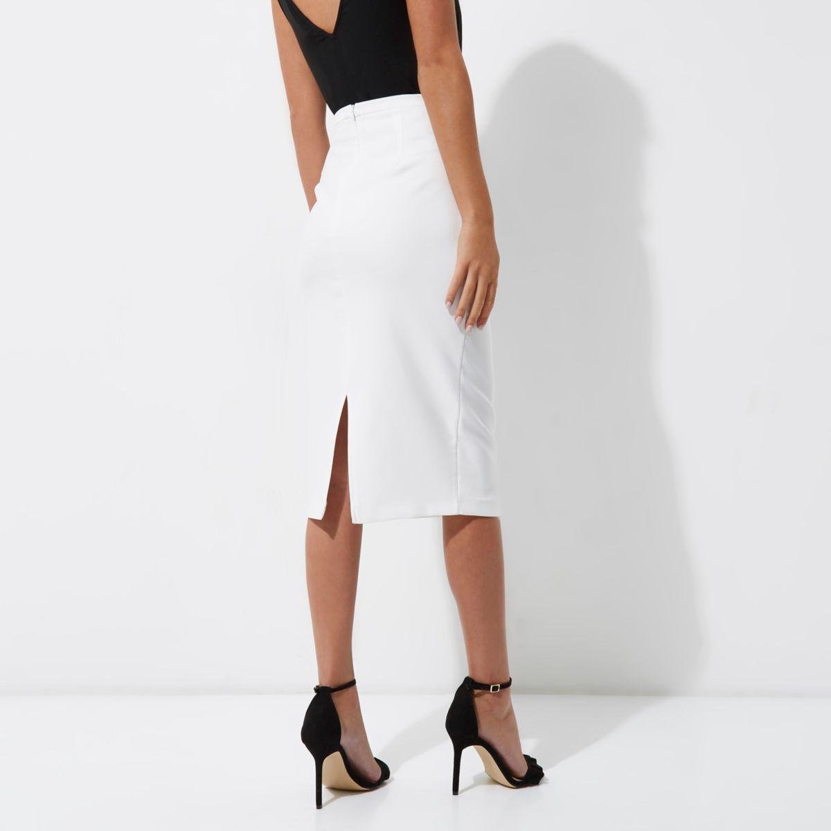 4150e6d853 River Island White Bow Detail Pencil Skirt in White - Lyst