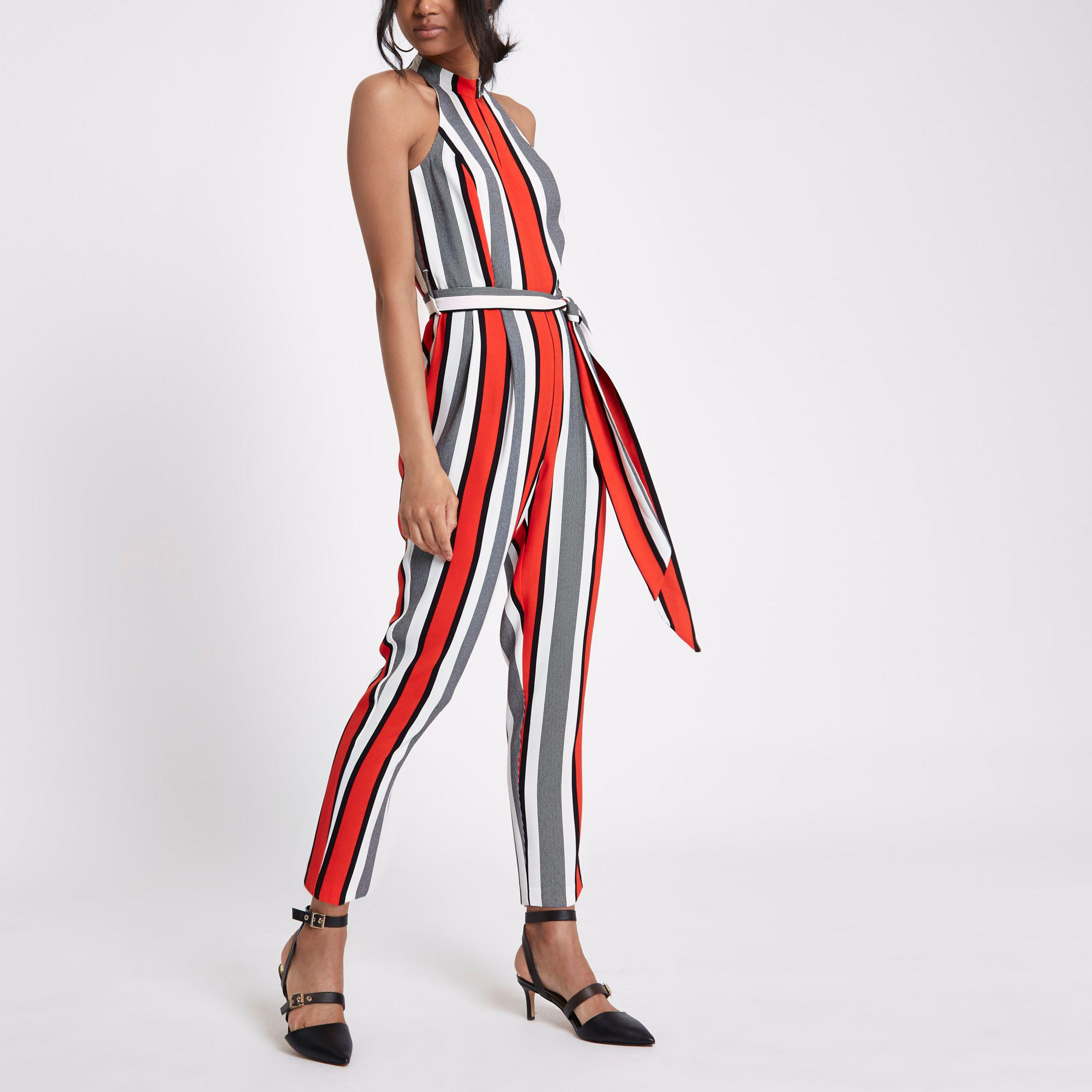 f1f58cb7d35 Lyst - River Island Red Stripe High Neck Jumpsuit in Red