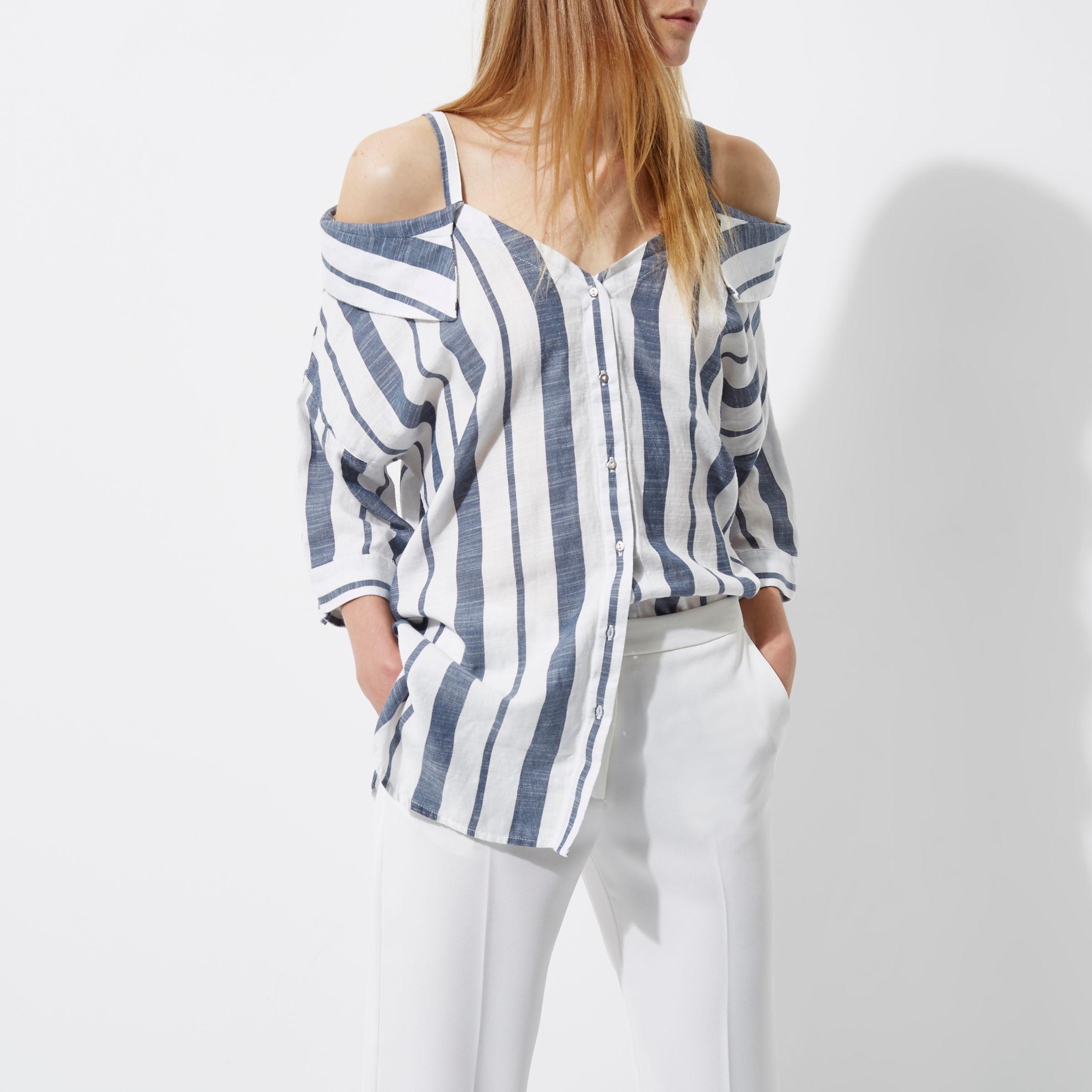 7cf56338292351 River Island Navy Stripe Cold Shoulder Shirt in Blue - Lyst
