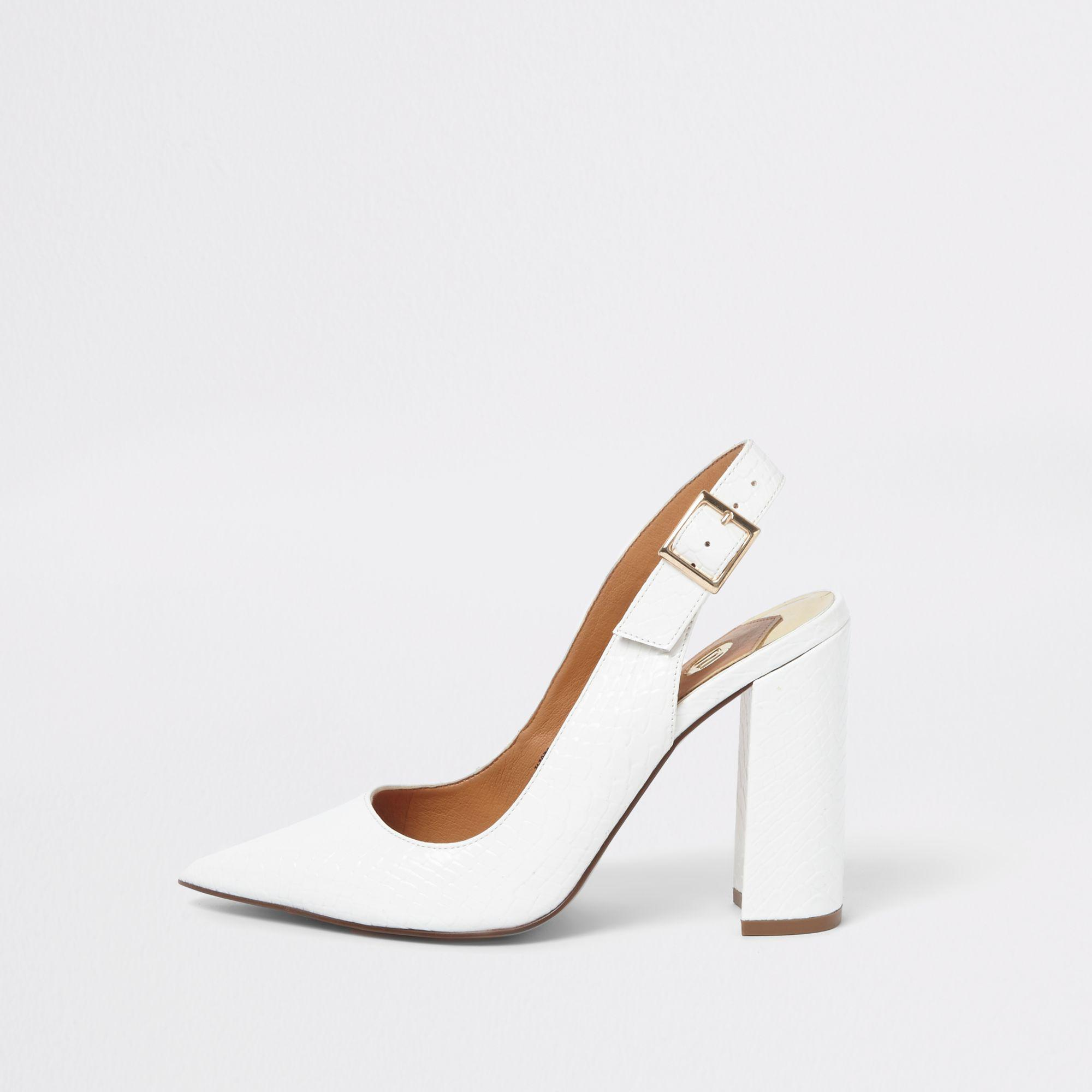 c6d30d3bb71 Lyst - River Island Croc Block Heel Sling Back Court Shoes in White