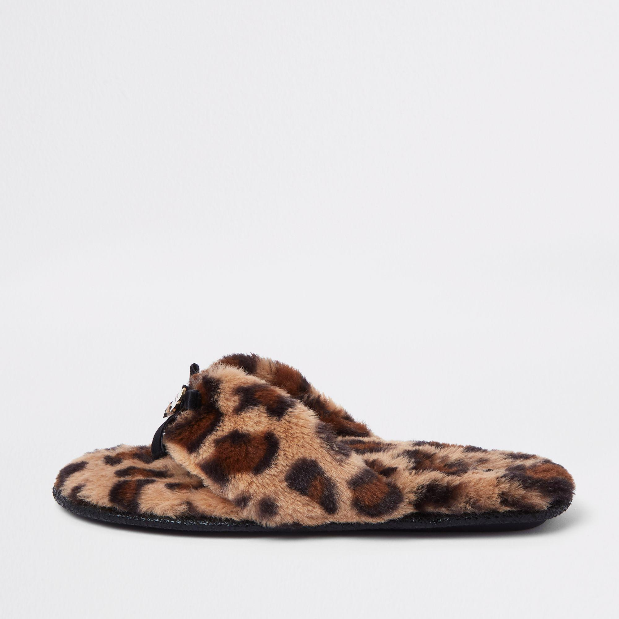 139b32344 River Island Leopard Print Flip Flop Slippers in Brown - Save 50% - Lyst