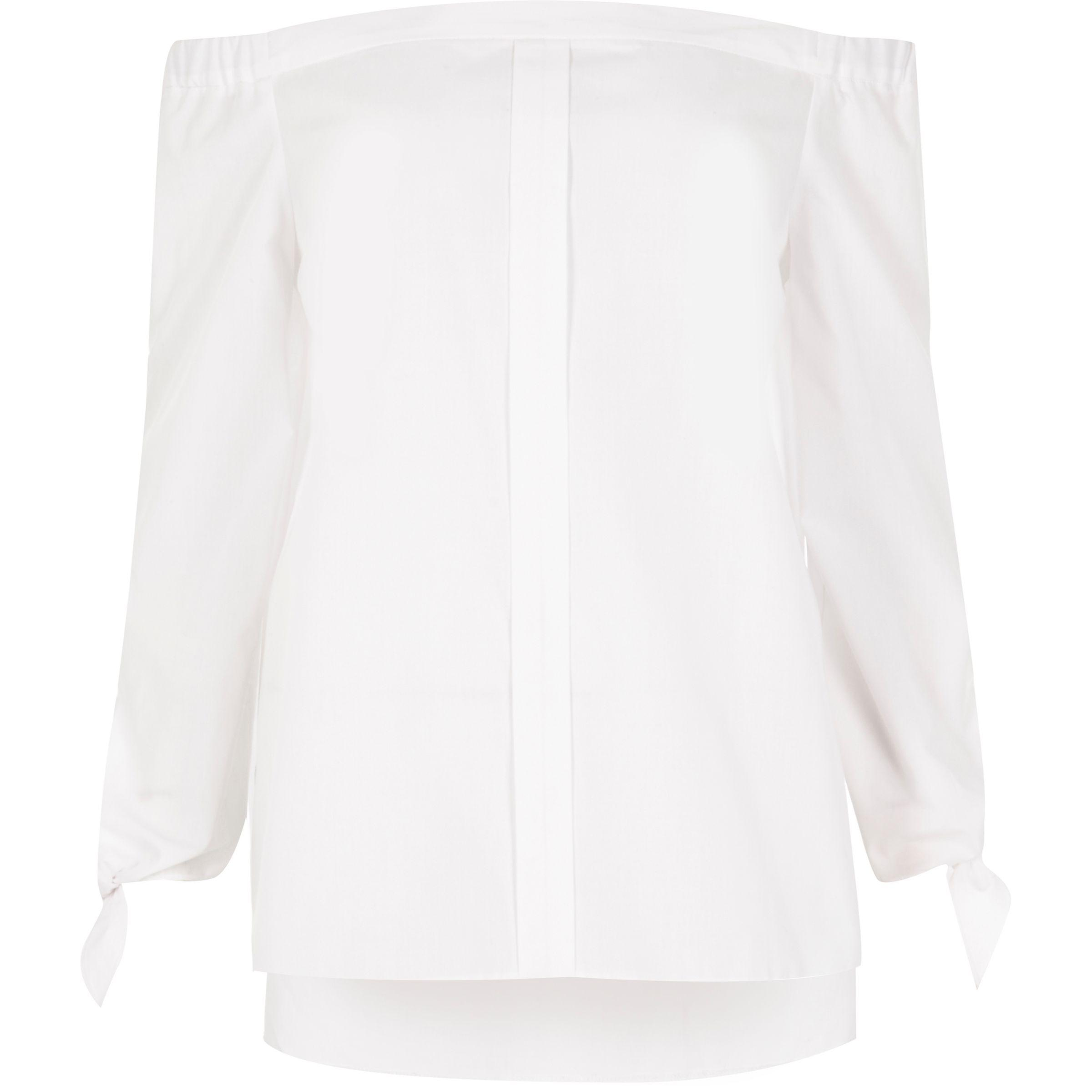 820fde5ff7f8b8 Lyst - River Island White Tie Sleeve Bardot Shirt in White