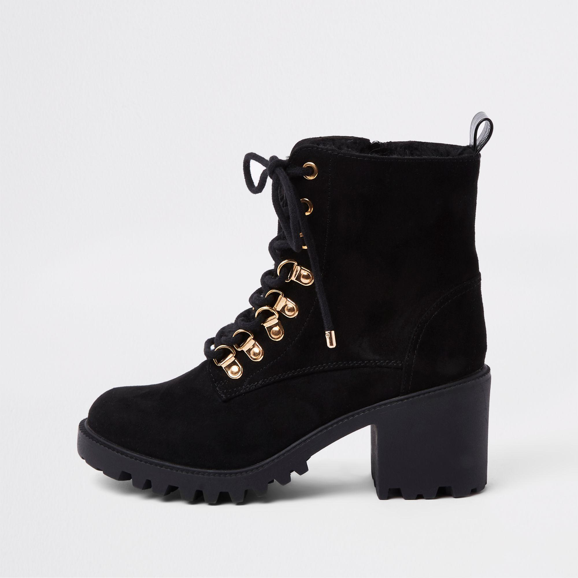 6c6b4b6c2095e4 River Island Faux Fur Lace-up Chunky Hiking Boots in Black - Lyst