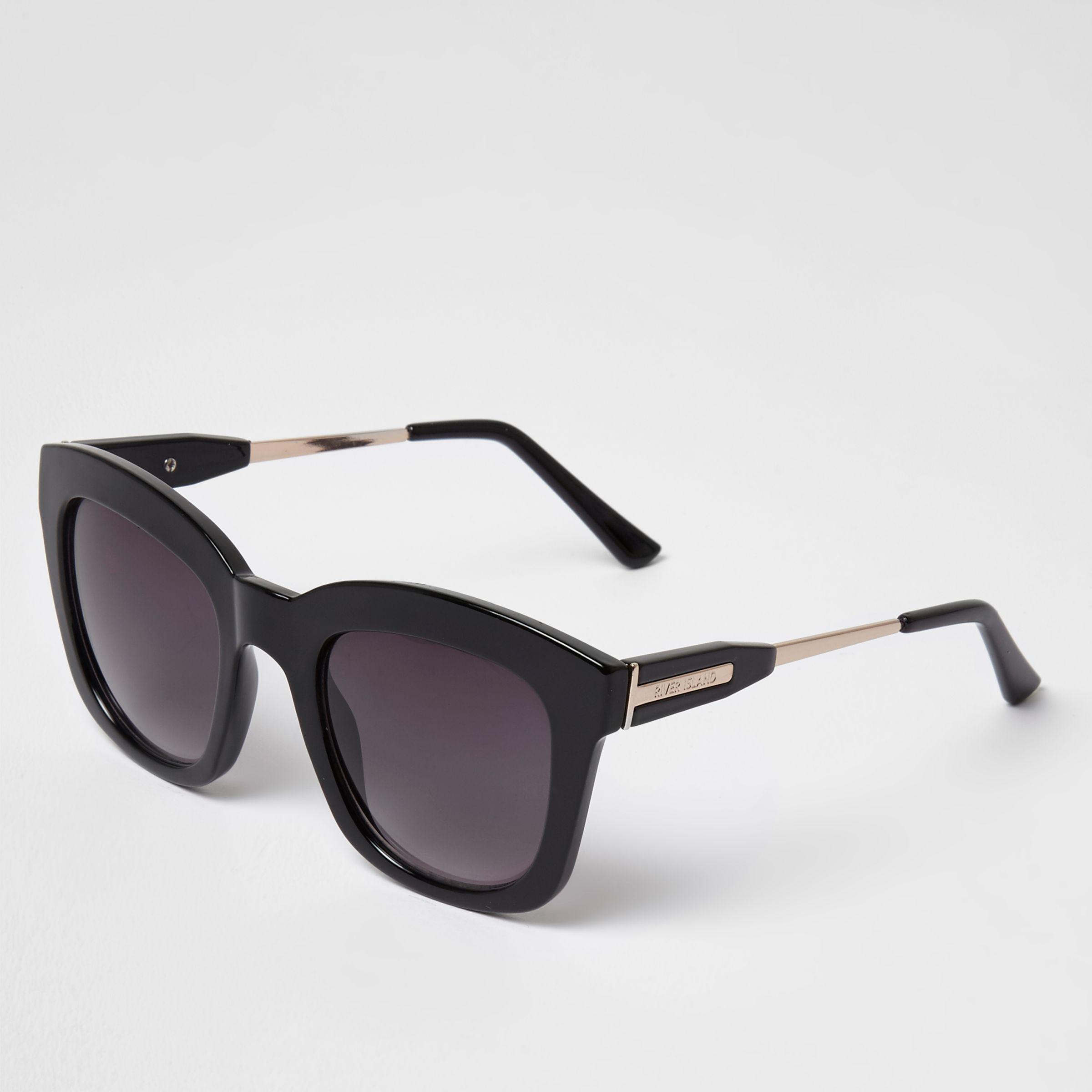 Lyst - River Island Oversized Glam Smoke Lens Sunglasses in Black 96d8843671