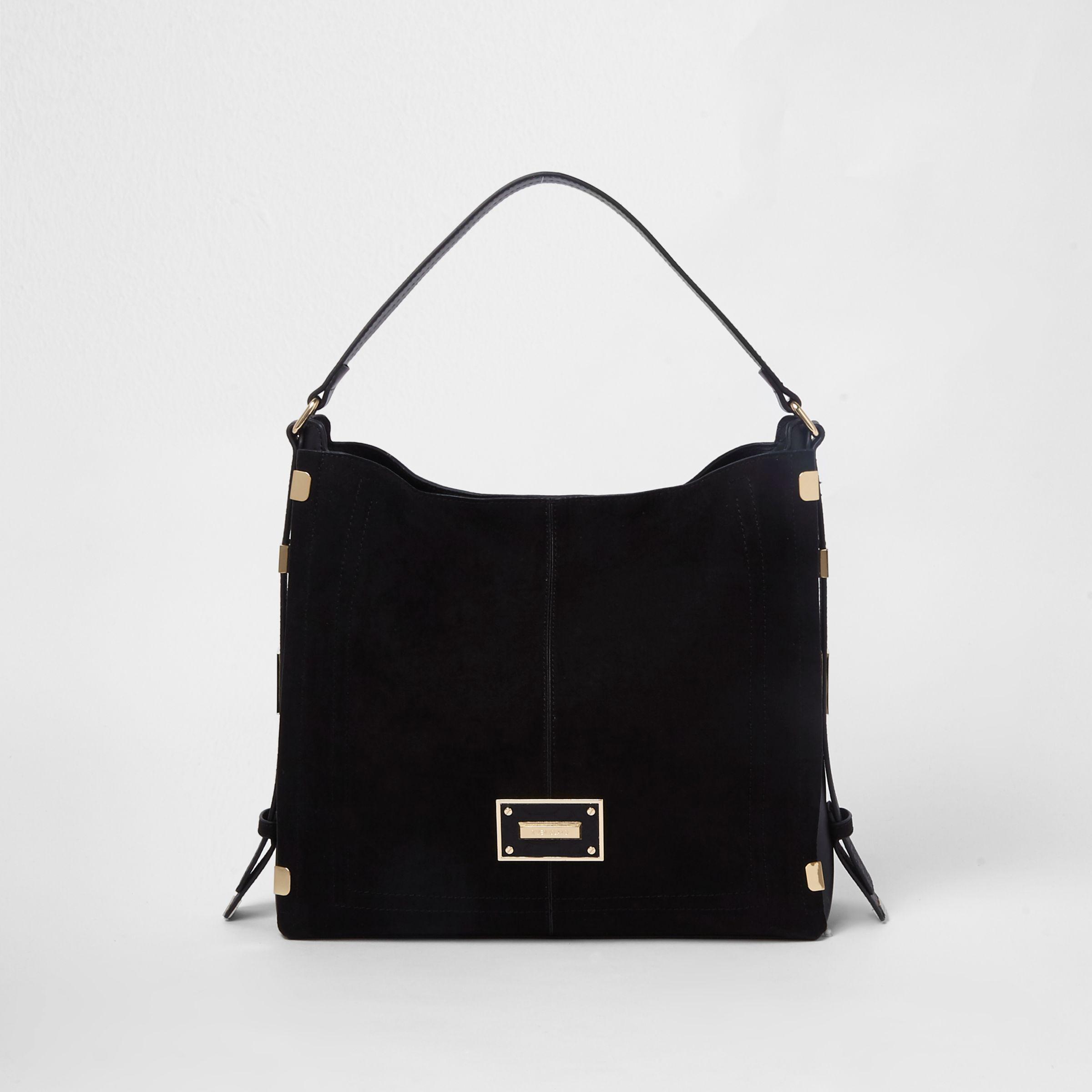 6652af6f03 Lyst - River Island Black Side Tab Slouch Bag in Black