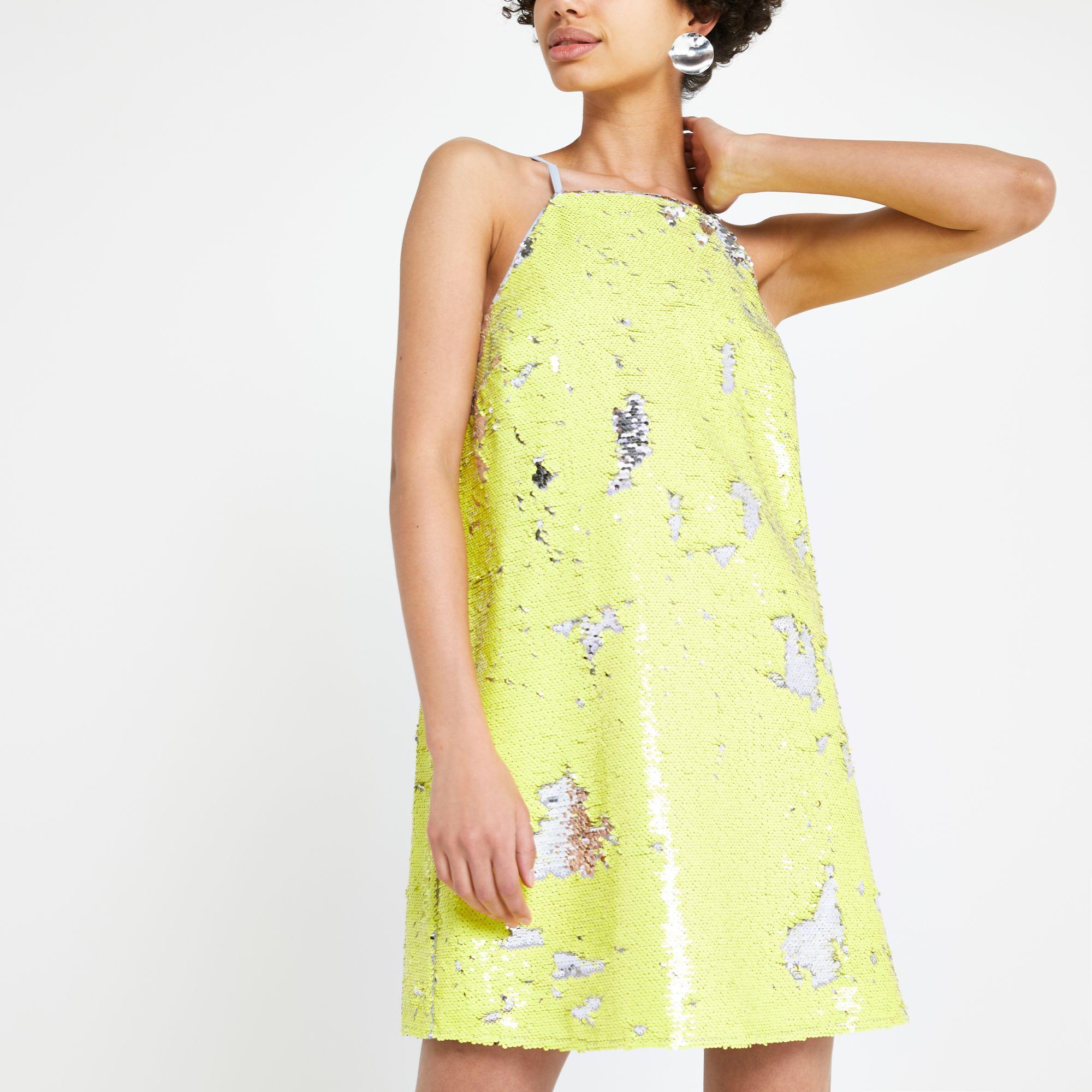 9c28acef356e Lyst - River Island Yellow Sequin Slip Dress in Yellow