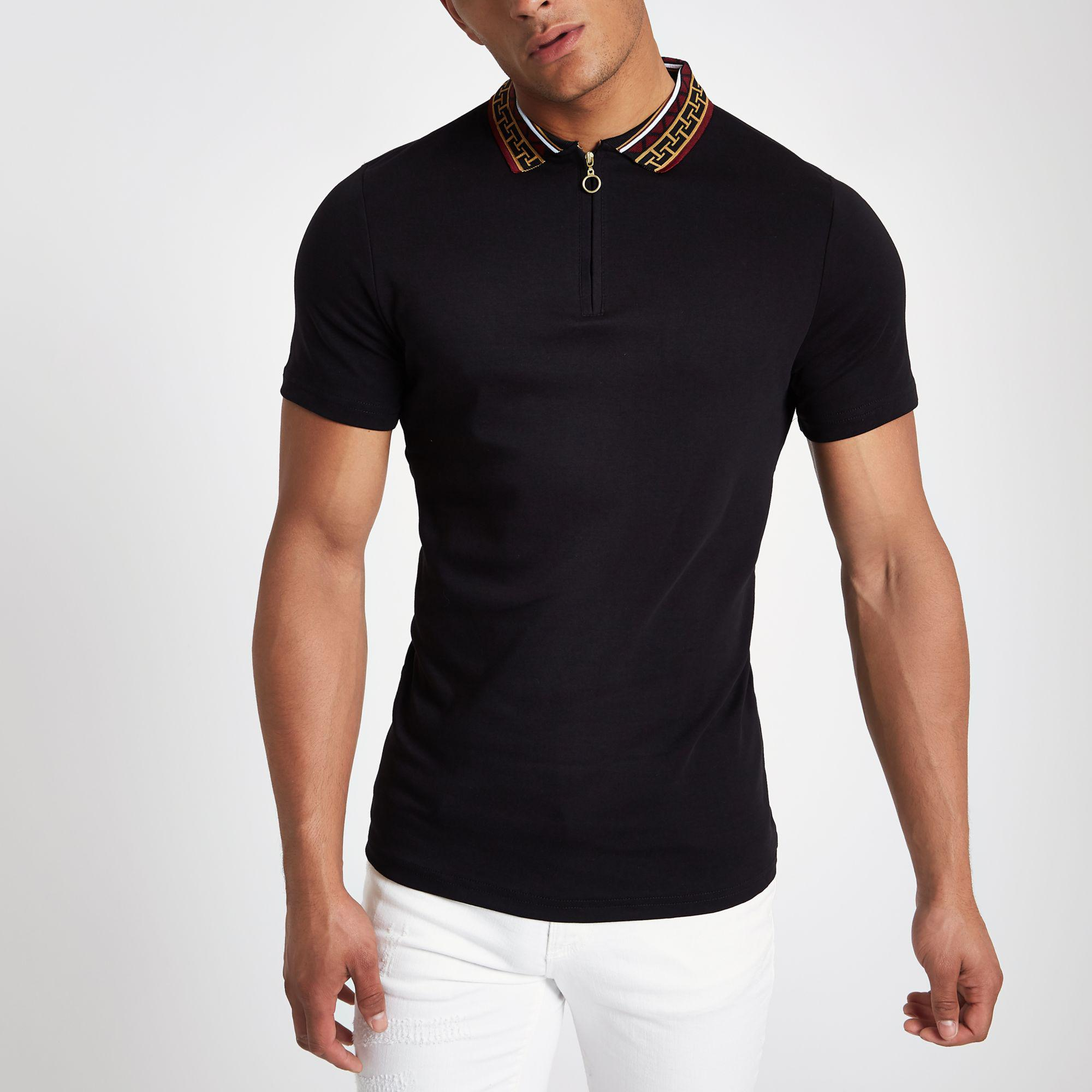 06e8f44b River Island Baroque Collar Muscle Fit Polo Shirt in Black for Men ...