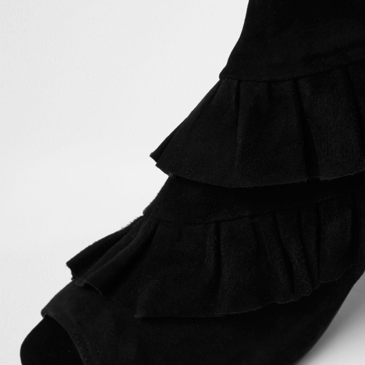 b1eb2fb5a508 Lyst - River island Black Suede Frill Peep Toe Ankle Boot in Black