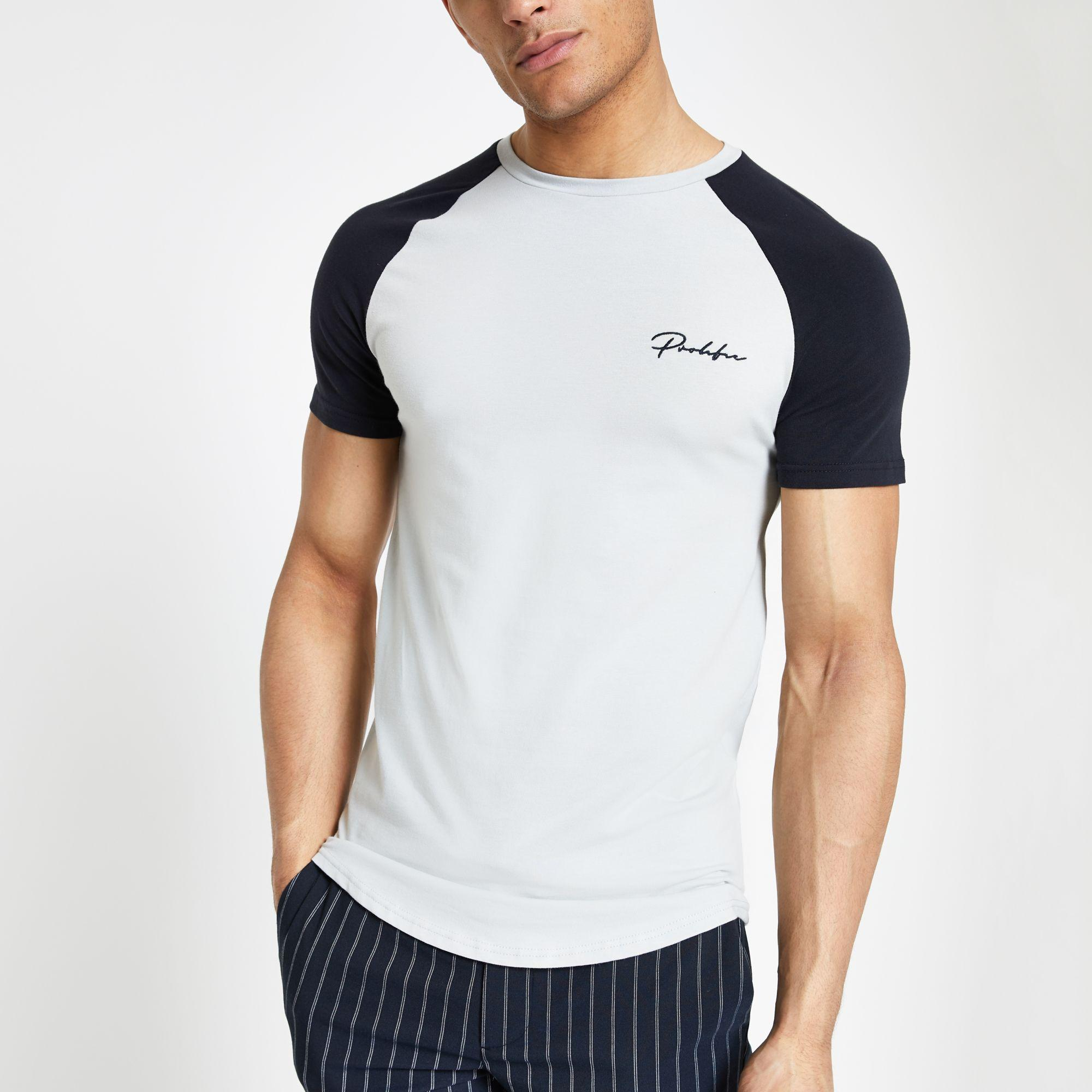 b3b99460f5de River Island Grey 'prolific Muscle Fit Raglan T-shirt in Gray for ...