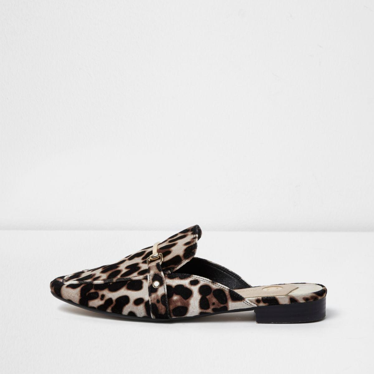 dd2295fb322265 Lyst - River Island Brown Leopard Print Backless Loafers in Brown