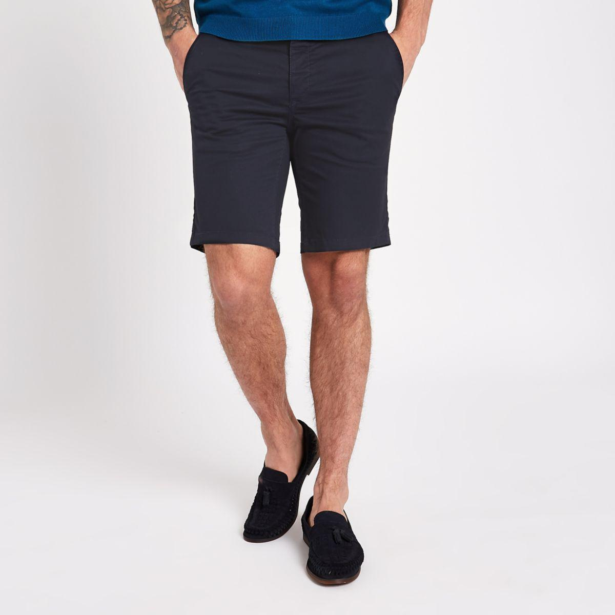 Mens Blue belted slim fit chino shorts River Island obZvgx