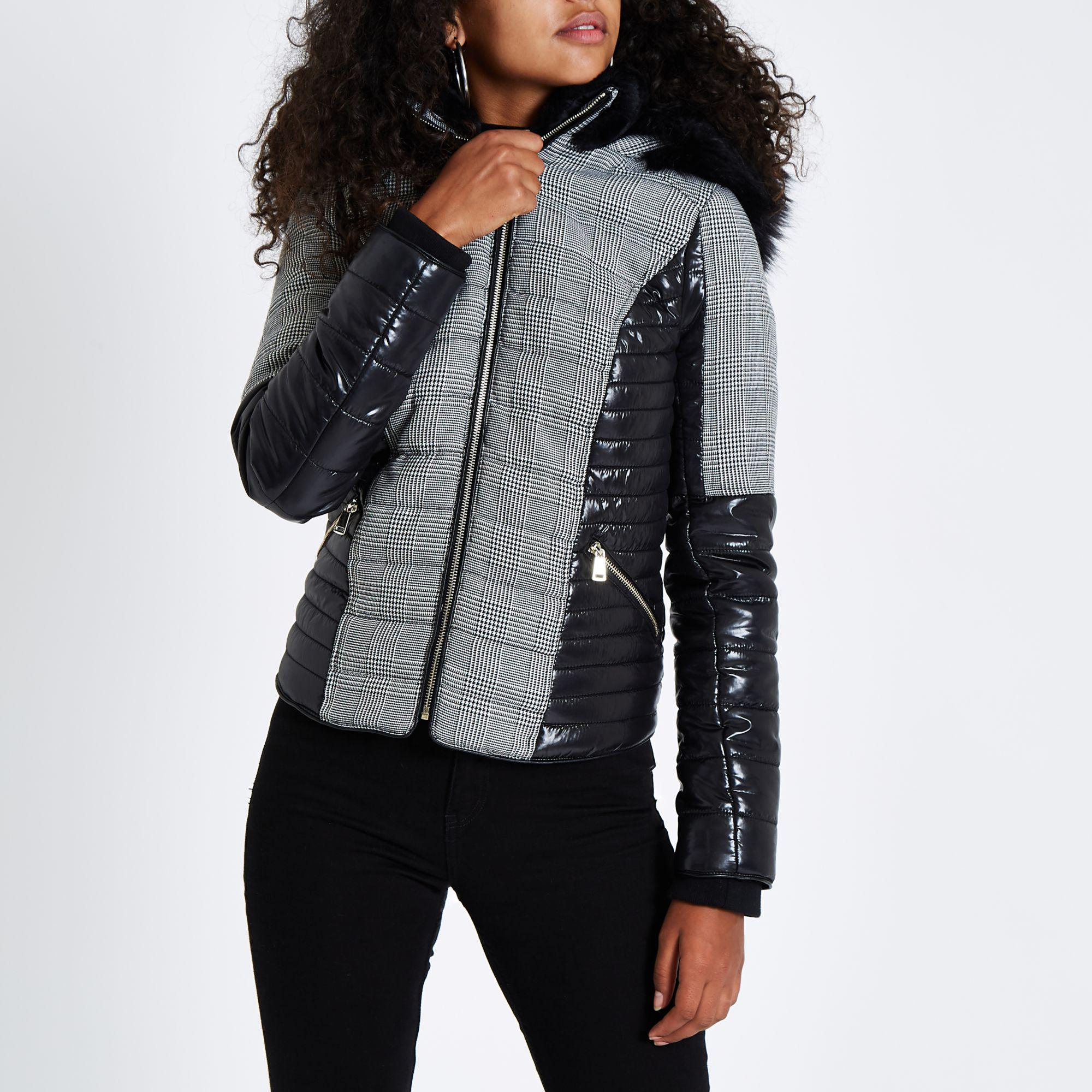 a40156a37f1 River Island Check Faux Fur Hood Padded Jacket in Gray - Lyst