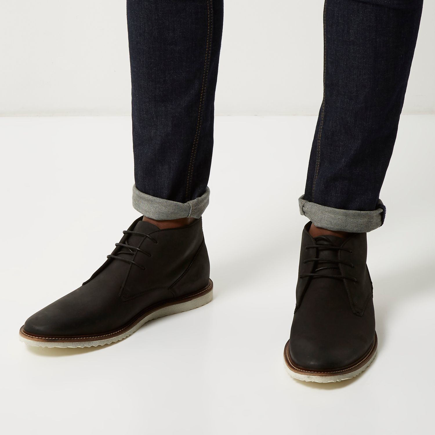 river island black leather chukka boots in black for