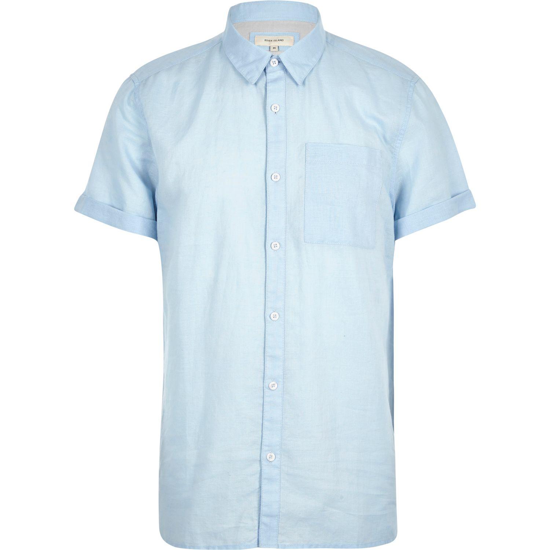 River island light blue linen rich short sleeve shirt in for Mens light blue linen shirt