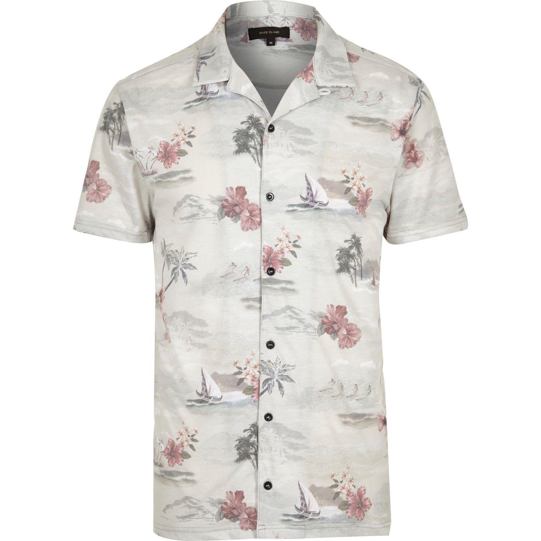 5567f139 River Island Ecru Hawaiian Print Polo Shirt for Men - Lyst