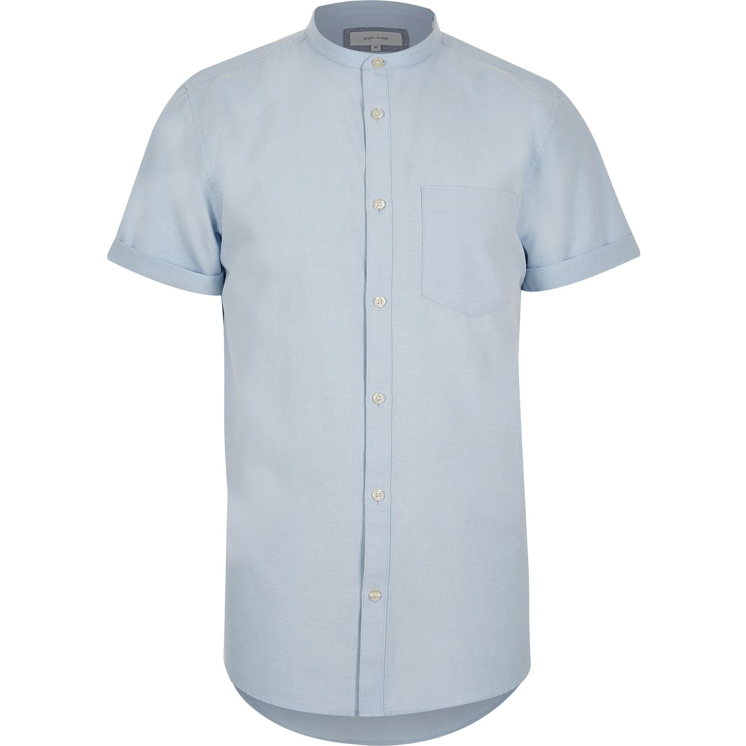 River island blue grandad collar short sleeve shirt in for Short sleeve grandad shirt