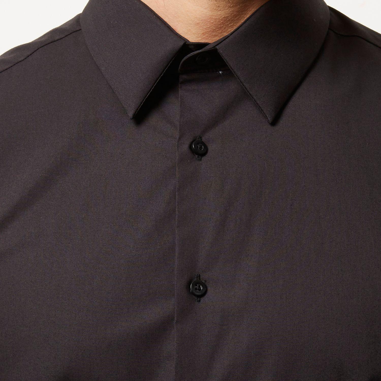 River Island Black Smart Slim Fit Shirt In Black For Men