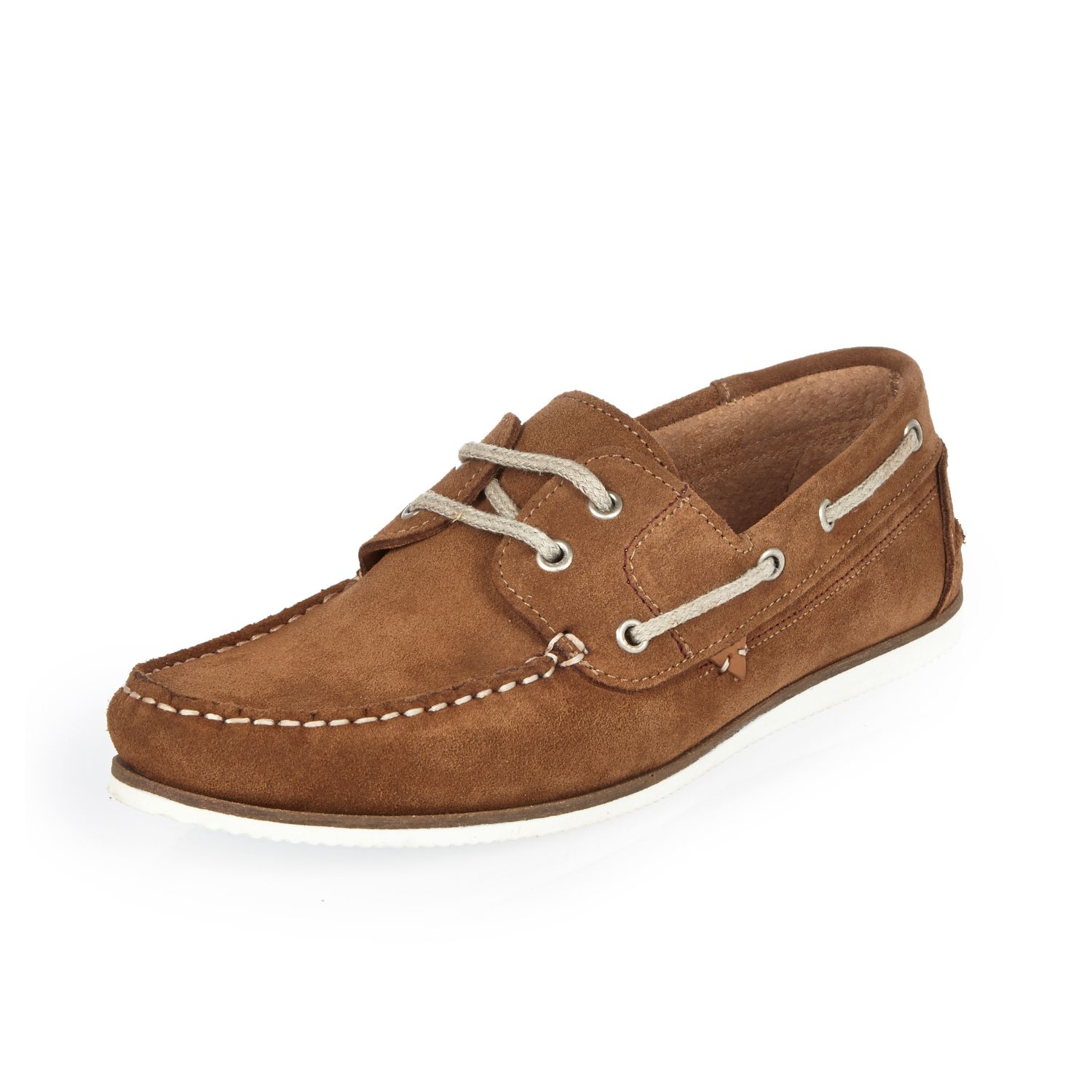 river island suede boat shoes in brown for lyst