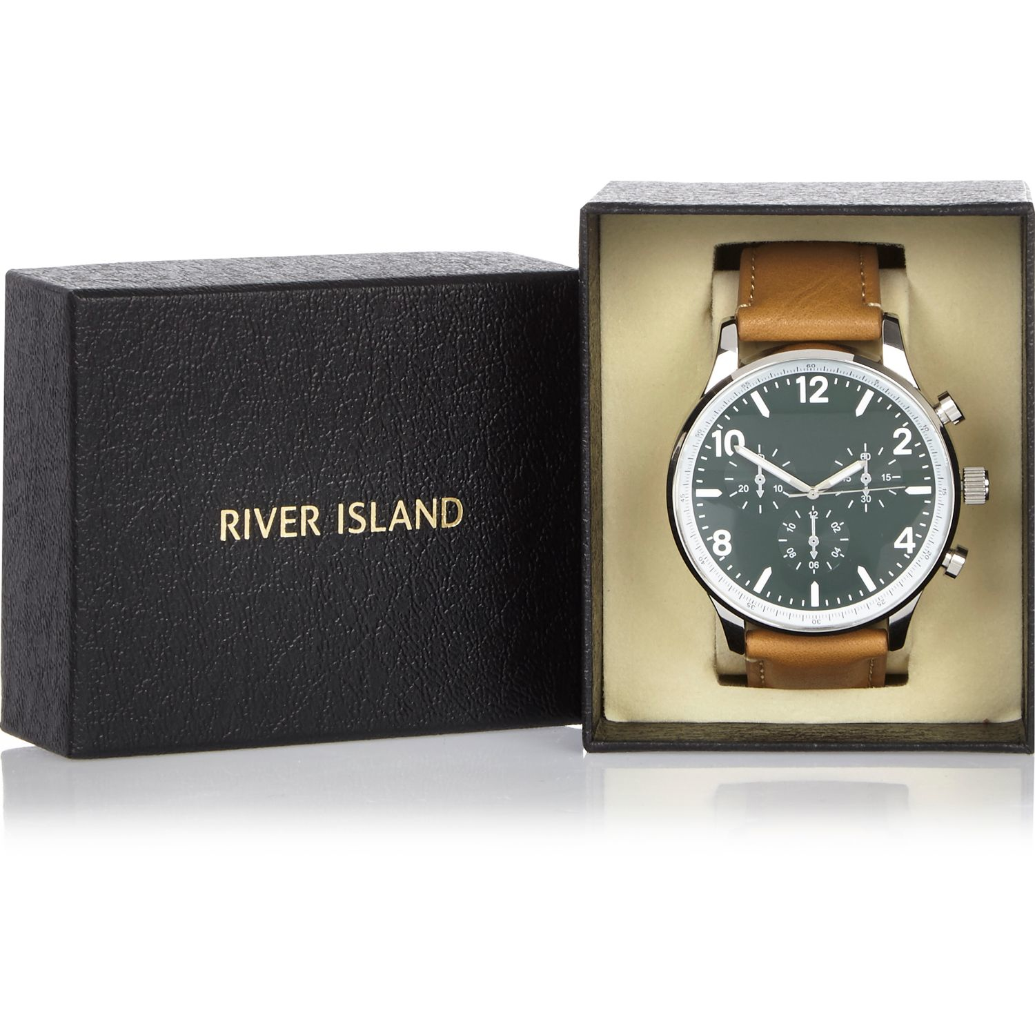 river island light brown leather look in brown for