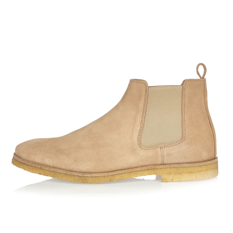 River Island Mens Stone suede wide fit chelsea boots vU8MCuo7L