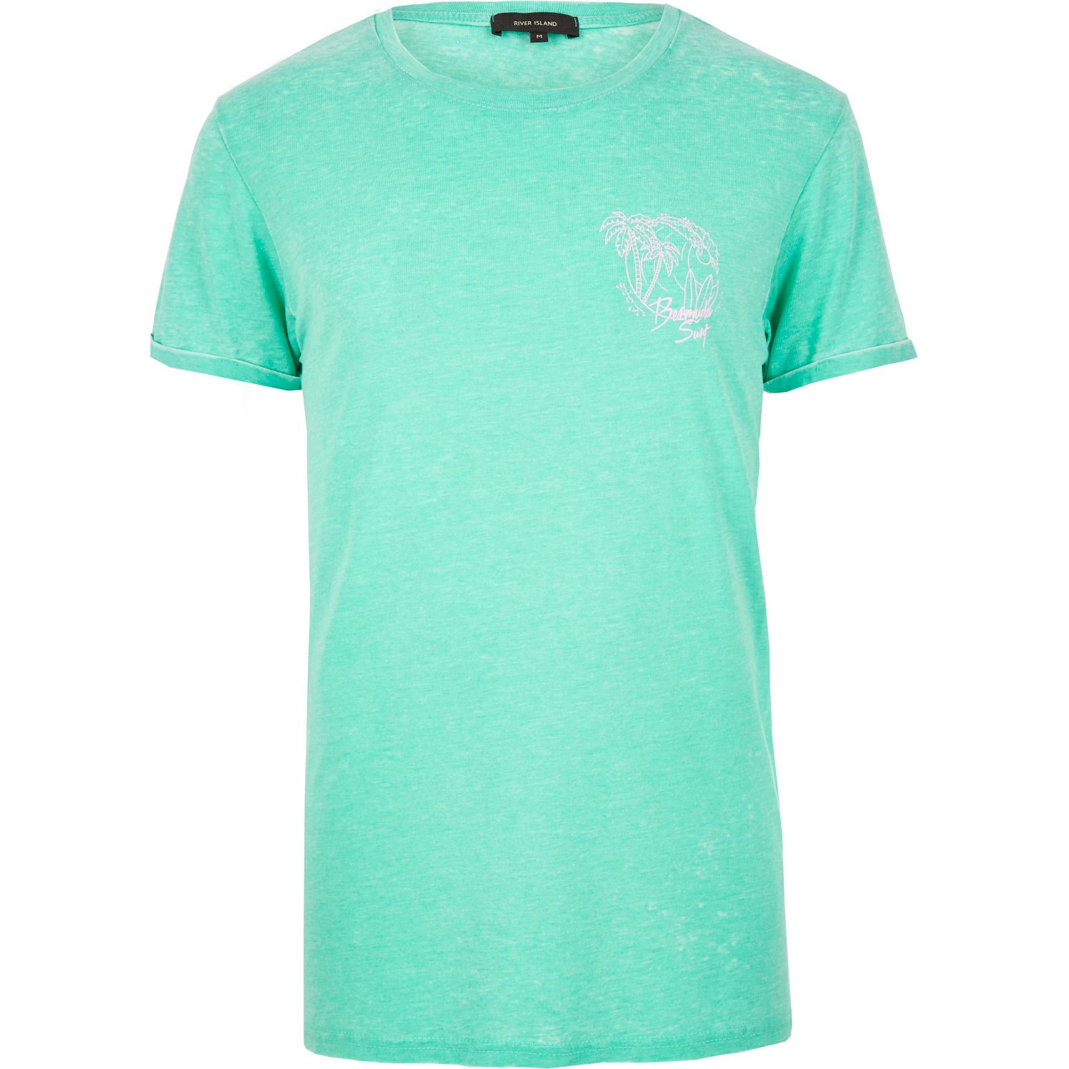 River island turquoise print bermuda t shirt in blue for for Aqua blue color t shirt