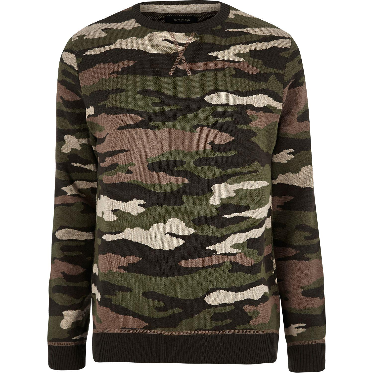 River island Dark Green Camo Military Jumper in Green for ...