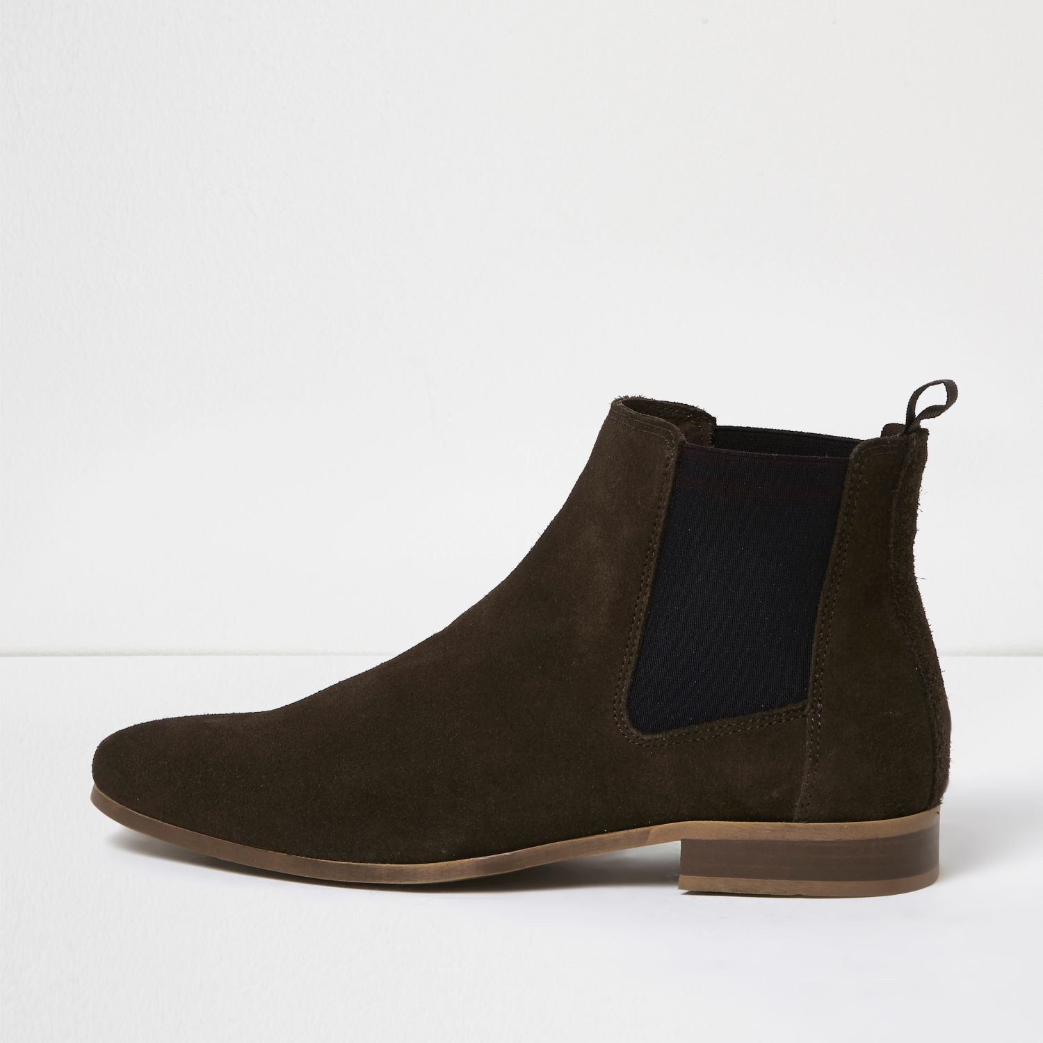 River Island Black Suede Combat Boots