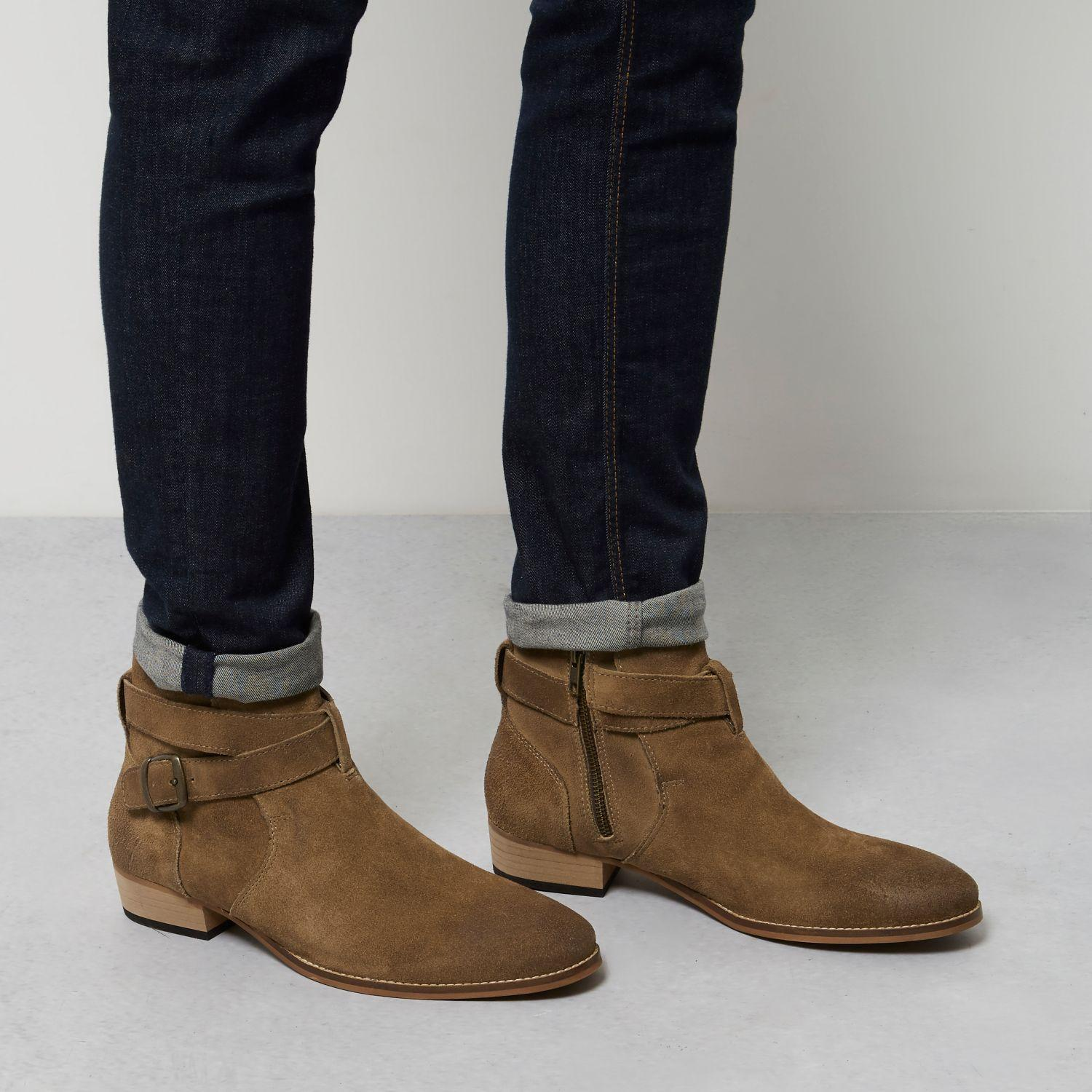 river island worn leather western boots for lyst