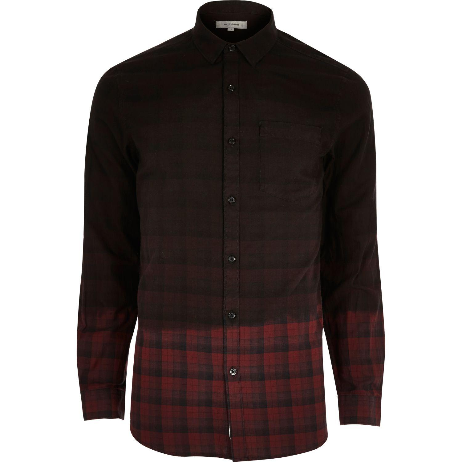 River island red dip dye check flannel shirt in red for for How to wash flannel shirts