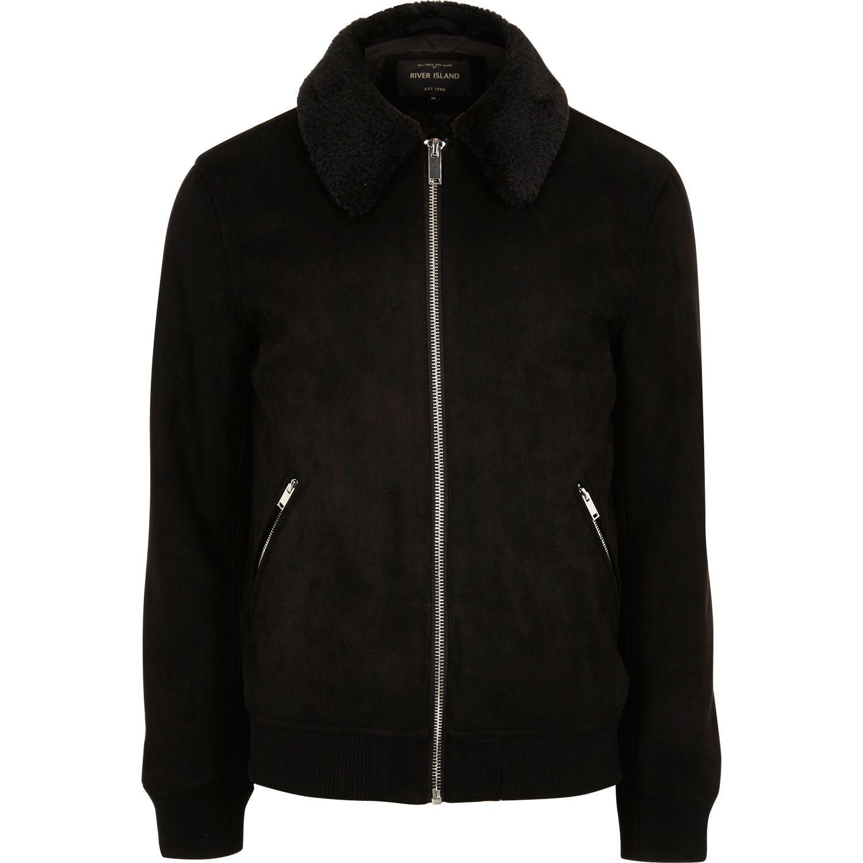 River island Black Faux Suede Fur Collar Jacket in Black ...