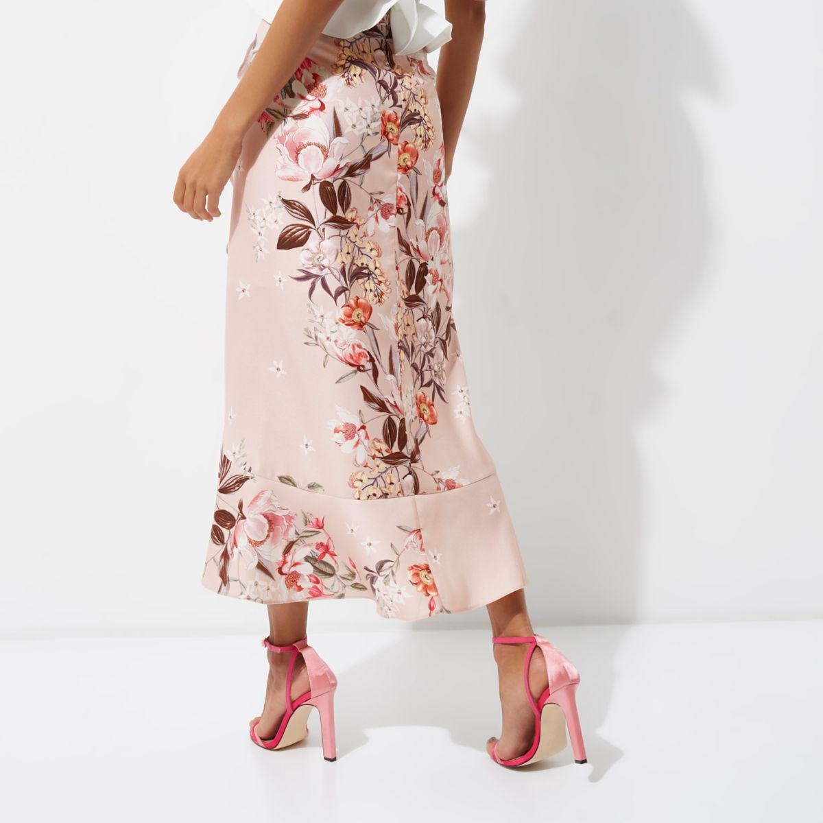 db699478c4 River Island Pink Floral Print Frill Hem Wrap Maxi Skirt in Pink - Lyst