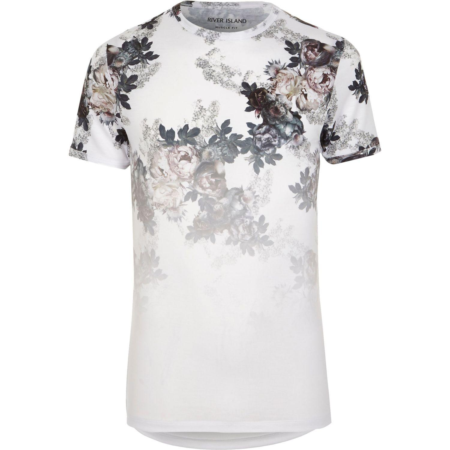 River island white floral fade print muscle fit t shirt in for Mens white floral shirt