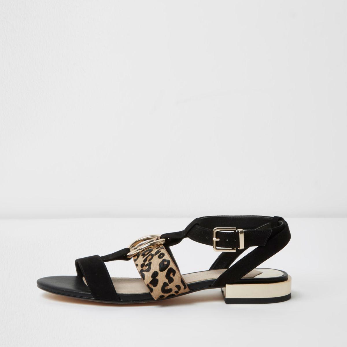 River Island Womens Leopard print buckle shearling slides qGRSBh
